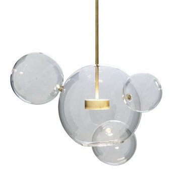 Wisząca LAMPA loftowa CGBUBBLE4 COPEL skandynawska OPRAWA szklany ZWIS molekuły LED 14W 3000K bańki przezroczyste mosiądz