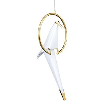 Modernistyczna LAMPA wisząca CGLOT1 COPEL dekoracyjna OPRAWA metalowy zwis LED 7W 3000K ptak bird biały złoty