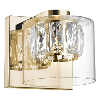 LAMPA ścienna GEM W0389-01A-F7AC Zumaline okrągła OPRAWA szklana LED 5W 3000K glamour złota przezroczysta