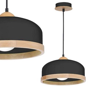 Skandynawska LAMPA wisząca STUDIO MLP8851 Milagro metalowa OPRAWA hygge ZWIS okrągły czarny drewno