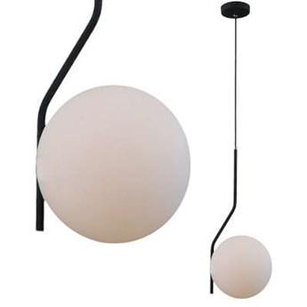 Loftowa LAMPA wisząca CARIMI PND-3300-1-BK metalowa OPRAWA szklany ZWIS kula grafitowa biała