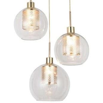 Wisząca LAMPA modernistyczna PHILANA 6496 Rabalux szklana OPRAWA kaskada ZWIS dekoracyjne kule balls złota przezroczysta