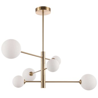 Loftowa LAMPA sufitowa DORADO LP-002/6P Light Prestige metalowa OPRAWA szklane kule plafon molekuły miedziane białe
