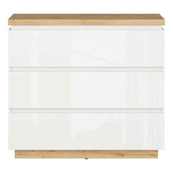 Komoda Erla z trzema szufladami biały/dąb minerva/biały połysk