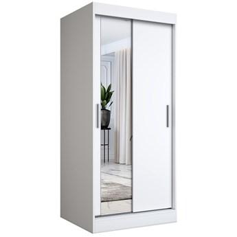 Biała szafa przesuwna z lustrem - Lenora 2X