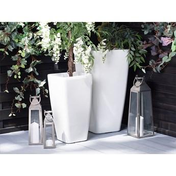 Doniczka biała mieszanka gliny 30 x 30 x 57 cm kwadratowa wysoka dekoracyjna do domu i na taras