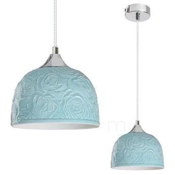 LAMPA wisząca ROSALIE 7605 Rabalux prowansalska OPRAWA ceramiczny ZWIS w kwieciste wzory turkusowy