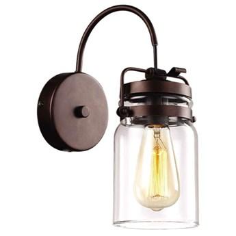 Loftowa LAMPA ścienna  K-8004W-1 Kaja skandynawska OPRAWA szklana tuba kinkiet okrągły brązowy przezroczysty