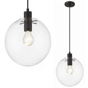 Loftowa LAMPA wisząca PUERTO LP-004/1P M BK Light Prestige skandynawska OPRAWA szklany ZWIS kula ball przezroczysta czarna