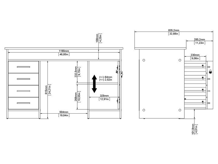 Białe biurko komputerowe z szafką i szufladami Function 4S1D Głębokość 55 cm Biurko tradycyjne Metal Kategoria Biurka Szerokość 126 cm Biurko z nadstawką Styl Nowoczesny