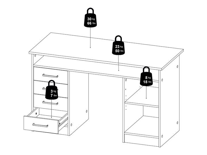 Białe biurko komputerowe z szafką i szufladami Function 4S1D Głębokość 55 cm Biurko tradycyjne Metal Biurko z nadstawką Szerokość 126 cm Styl Nowoczesny