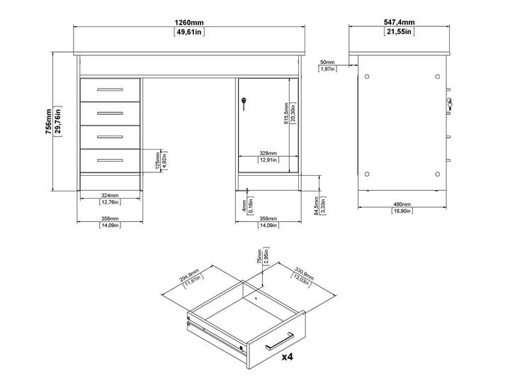Białe biurko komputerowe z szafką i szufladami Function 4S1D Metal Głębokość 55 cm Kolor Biały Szerokość 126 cm Biurko tradycyjne Biurko z nadstawką Kategoria Biurka