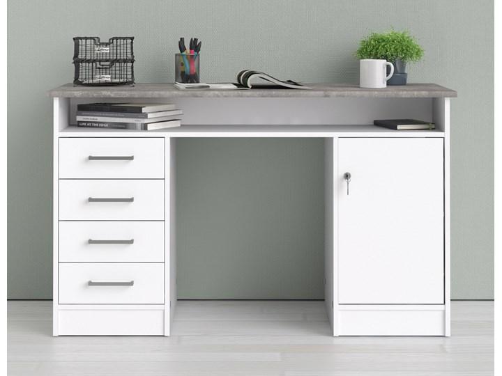 Białe biurko komputerowe z szafką i szufladami Function 4S1D Biurko z nadstawką Biurko tradycyjne Kategoria Biurka Metal Głębokość 55 cm Szerokość 126 cm Kolor Biały