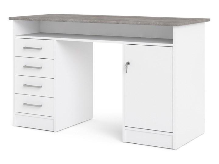 Białe biurko komputerowe z szafką i szufladami Function 4S1D Szerokość 126 cm Biurko tradycyjne Metal Biurko z nadstawką Głębokość 55 cm Kategoria Biurka Styl Nowoczesny