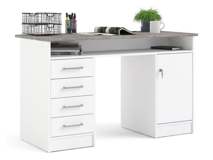 Białe biurko komputerowe z szafką i szufladami Function 4S1D Szerokość 126 cm Biurko z nadstawką Biurko tradycyjne Głębokość 55 cm Metal Kolor Biały