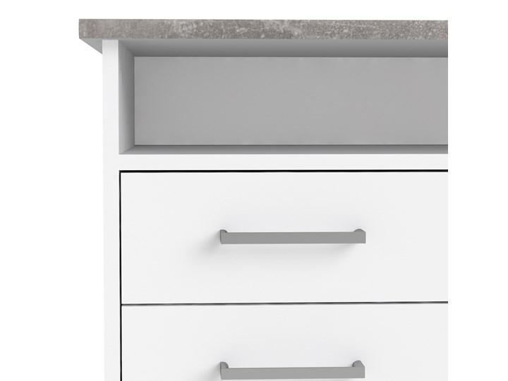 Białe biurko komputerowe z szafką i szufladami Function 4S1D Biurko z nadstawką Głębokość 55 cm Szerokość 126 cm Biurko tradycyjne Metal Kategoria Biurka