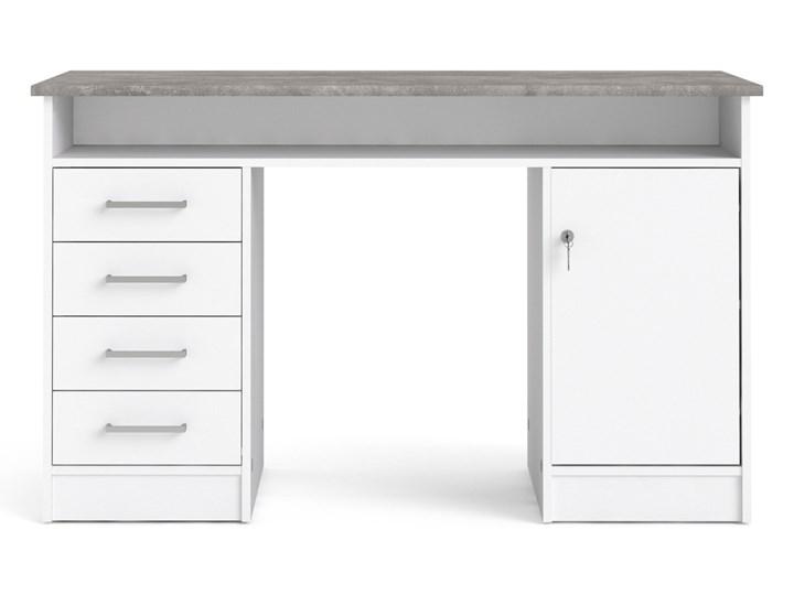 Białe biurko komputerowe z szafką i szufladami Function 4S1D Biurko z nadstawką Biurko tradycyjne Głębokość 55 cm Metal Szerokość 126 cm Styl Nowoczesny