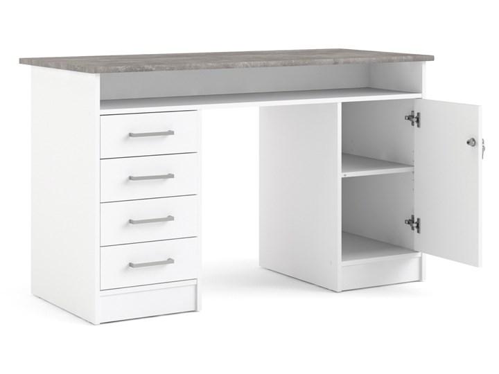 Białe biurko komputerowe z szafką i szufladami Function 4S1D Szerokość 126 cm Biurko z nadstawką Metal Głębokość 55 cm Biurko tradycyjne Kategoria Biurka