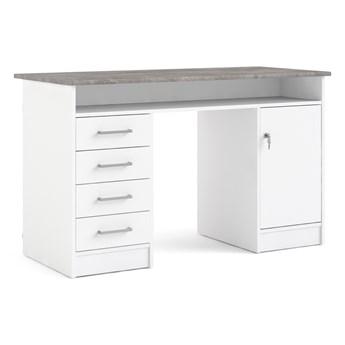 Białe biurko komputerowe z szafką i szufladami Function 4S1D