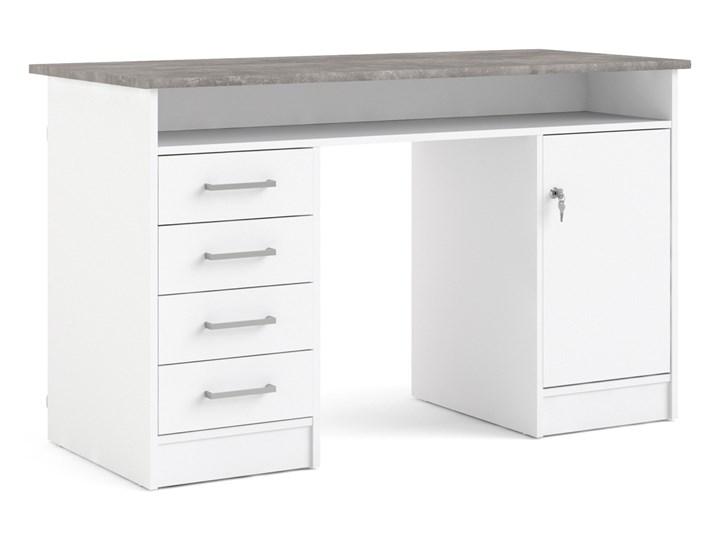 Białe biurko komputerowe z szafką i szufladami Function 4S1D Głębokość 55 cm Biurko tradycyjne Biurko z nadstawką Szerokość 126 cm Metal Kategoria Biurka