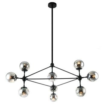 Żyrandol LAMPA wisząca Bao Nero Fume Orlicki Design industrialna OPRAWA metalowa ZWIS kule balls molekuły loft przydymione