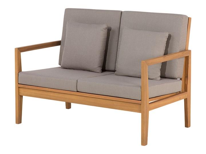 Zestaw ogrodowy brązowy jasne drewno akacjowe 2 ławki 1 fotel 1 leżak 1 stół poduchy retro Tworzywo sztuczne Zestawy wypoczynkowe Zestawy kawowe Styl Nowoczesny