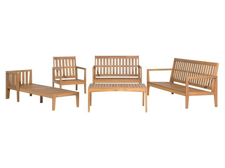 Zestaw ogrodowy brązowy jasne drewno akacjowe 2 ławki 1 fotel 1 leżak 1 stół poduchy retro Zestawy wypoczynkowe Styl Nowoczesny Zestawy kawowe Tworzywo sztuczne Styl Vintage
