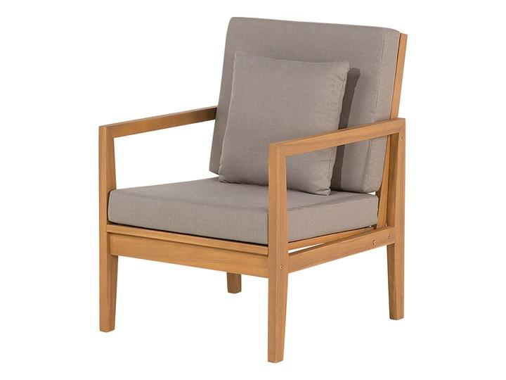 Zestaw ogrodowy szary jasne drewno akacjowe 2 ławki 1 fotel 1 leżak 1 stół poduchy retro Zestawy kawowe Zawartość zestawu Stolik Tworzywo sztuczne Zestawy wypoczynkowe Zawartość zestawu Fotele