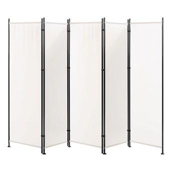 Parawan mieszkaniowy biały poliester czarna stalowa rama 5 paneli dekoracja do pokoju