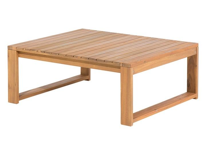 Zestaw mebli ogrodowych jasne drewno akacjowe narożnik szare poduszki stolik kawowy Zestawy kawowe Zestawy wypoczynkowe Zestawy modułowe Styl Nowoczesny
