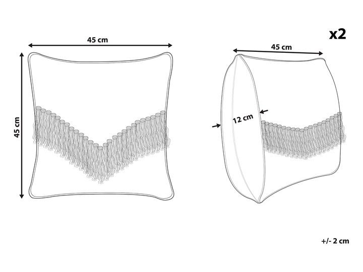 Zestaw 2 poduszek dekoracyjnych beżowy bawełniany 45 x 45 cm zdejmowana teksturowana poszewka z frędzlami 45x45 cm Wzór Jednolity Poszewka dekoracyjna Bawełna Kwadratowe Kategoria Poduszki i poszewki dekoracyjne