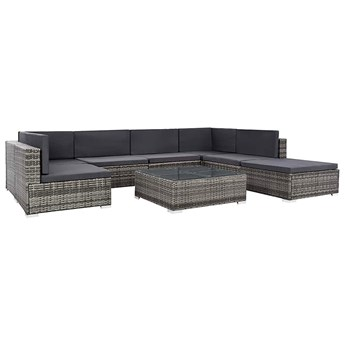 8-częściowy szary zestaw ogrodowy ze stolikiem - Bero 8A