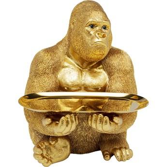 Figurka dekoracyjna z tacą Gorilla Butler 29x37 cm złota