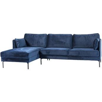 Narożnik Fashion Velvet 3 os. 252 cm niebieski lewy