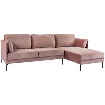 Narożnik Fashion Velvet 3 os. 252 cm różowy prawy