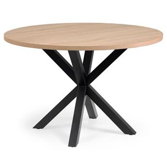 Stól okragly Full Argo melamina wykonczenie efekt drewna nogi stalowe czarne Ø 119 cm