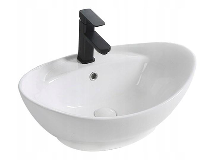 VELDMAN UMYWALKA CERAMICZNA NABLATOWA CLARA Owalne Kategoria Umywalki Ceramika Szerokość 59 cm Meblowe Nablatowe Kolor Biały