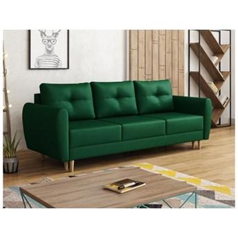 Sofa kanapa skandynawska Manstad welur butelkowa zieleń na drewnianych nóżkach