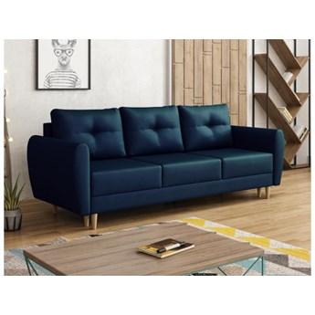 Sofa kanapa granatowa skandynawska Manstad welur drewniane nóżki