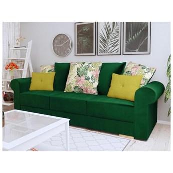 Kanapa sofa Sofia butelkowa zieleń angielski styl welur francuski sprężyny