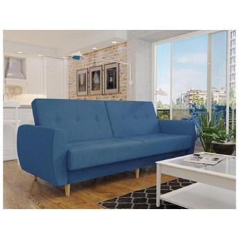 Wersalka granatowa sofa PRL drewniane nogi funkcje