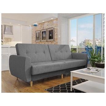 Wersalka sofa szary melanż PRL drewniane nogi funkcje