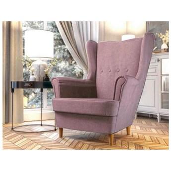 Nowoczesny skandynawski fotel  uszak velvet pudrowy róż na drewnianych nogach