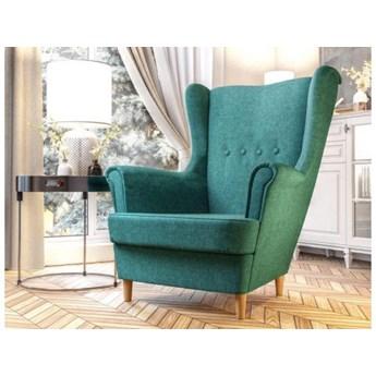 Skandynawski fotel na drewnianych nogach typu uszak - turkusowy