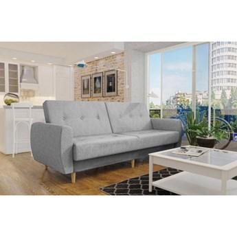 Wersalka sofa jasny szary melanz PRL drewniane nogi funkcje