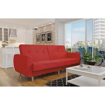 Wersalka sofa czerwony PRL drewniane nogi funkcje