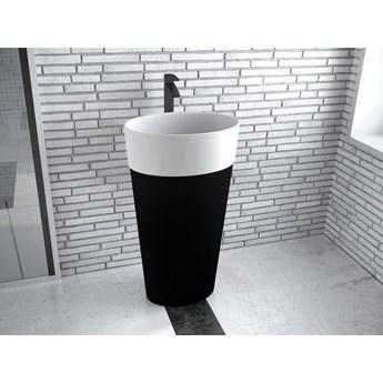 Umywalka wolnostojąca Uniqa, 46x32x84 cm, owalna, biała/czarna
