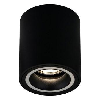 Punktowa oprawa sufitowa natynkowa HALIS OV Black GU10 okrągła czarna, biały pierścień EDO777331 EDO