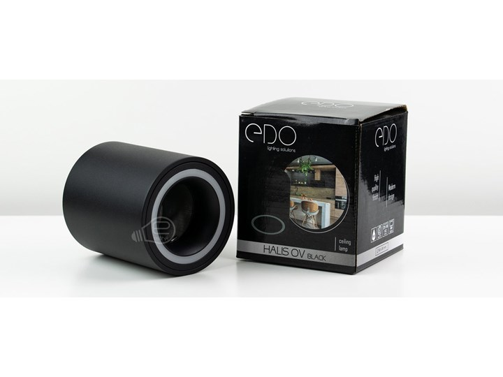 Punktowa oprawa sufitowa natynkowa HALIS OV Black GU10 okrągła czarna, biały pierścień EDO777331 EDO Oprawa stropowa Kolor Czarny Okrągłe Kategoria Oprawy oświetleniowe