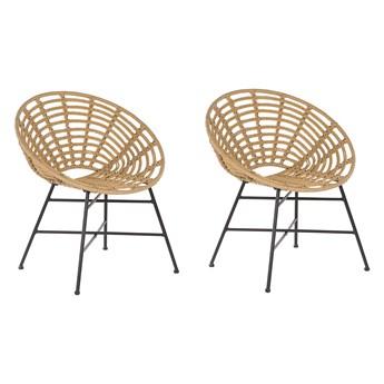 Zestaw 2 krzeseł jasnobrązowy rattan czarne stalowe nogi plecione oparcie i siedzisko do jadalni pokoju na ogród balkon styl boho